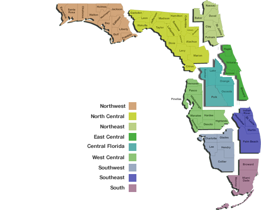 New Build Homes in Florida map