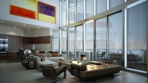 Oceanfront luxury condos at Porsche Design Tower in Sunny Isles Beach Near Miami in South Florida.