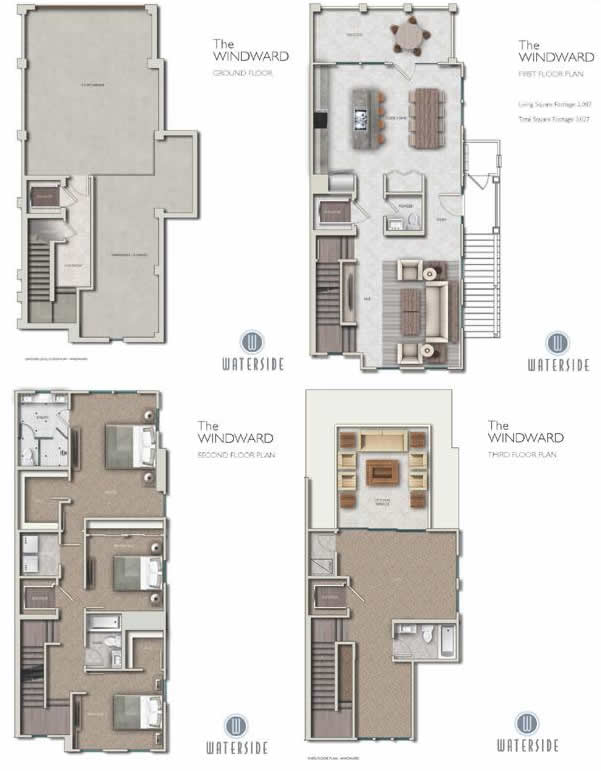 Waterside at indian shores new waterfront townhomes in for Shore house plans