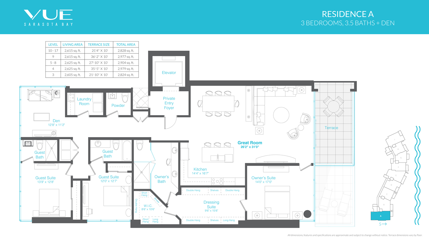 Residence a 3 bedrooms 3 5 bathrooms den 2605 sq ft