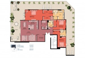 3 bedroom floor plan - Sansara luxury condos in Sarasota