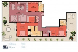 2 bedroom floor plan - Sansara luxury condos in Sarasota
