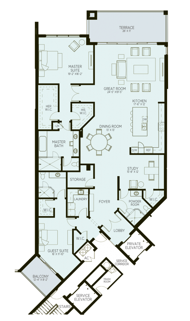 Azure Luxury Condos West Palm Beach Floorplan Model C