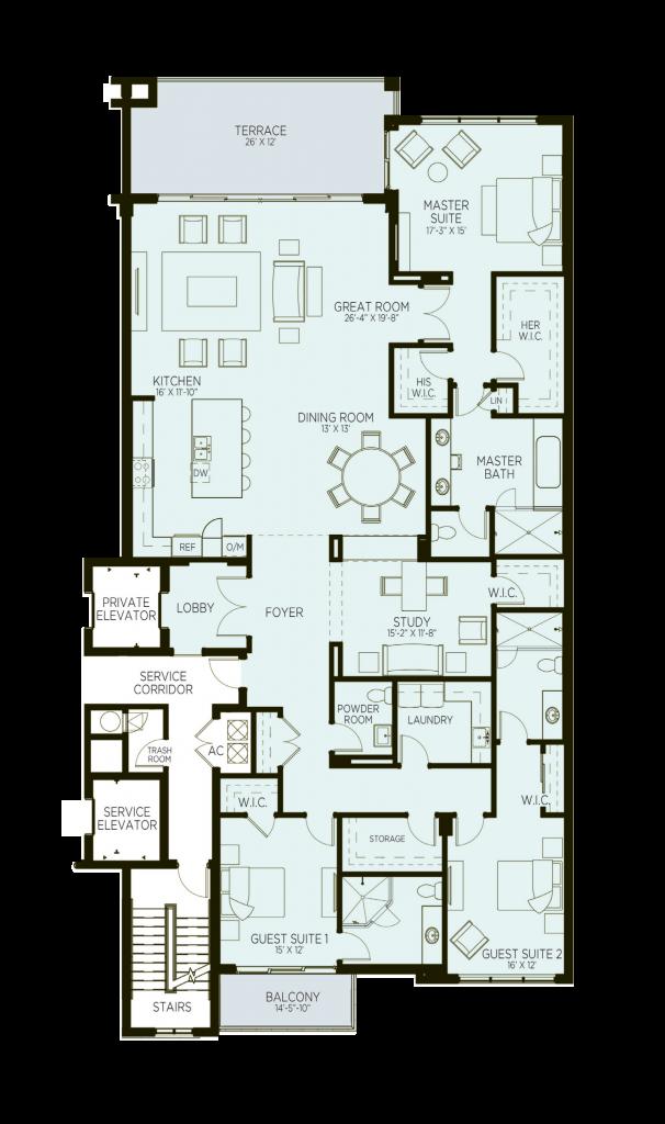 Azure Luxury Condos West Palm Beach Floorplan Model D2