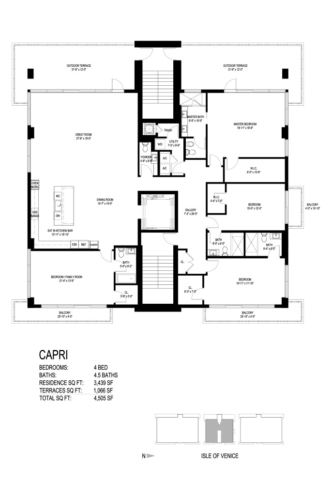 Aquamar las olas in ft lauderdale new waterfront condos for Capri floor plan