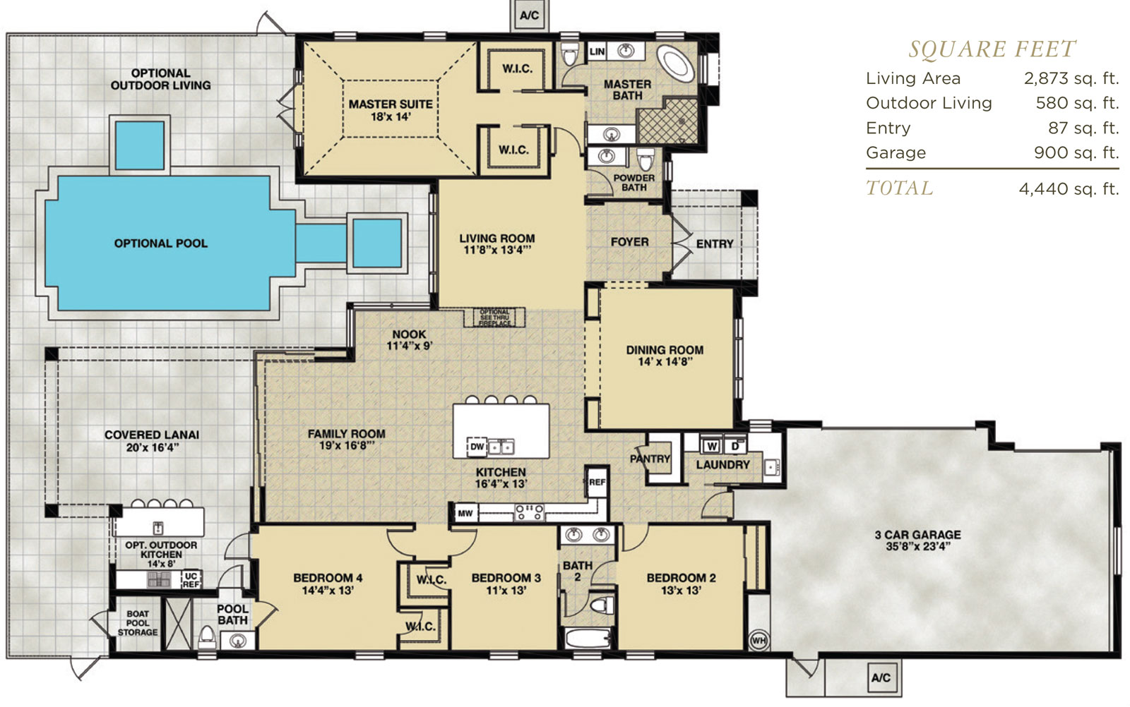 Hidden harbor estero for Swimming pool floor plan