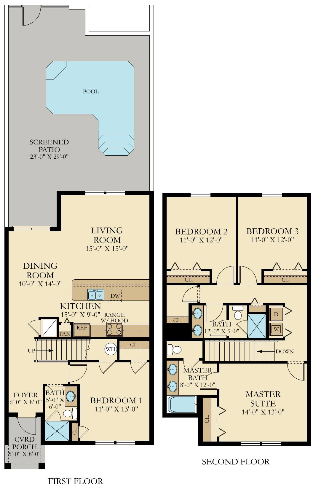 Lennar townhomes floor plans for Lake plan