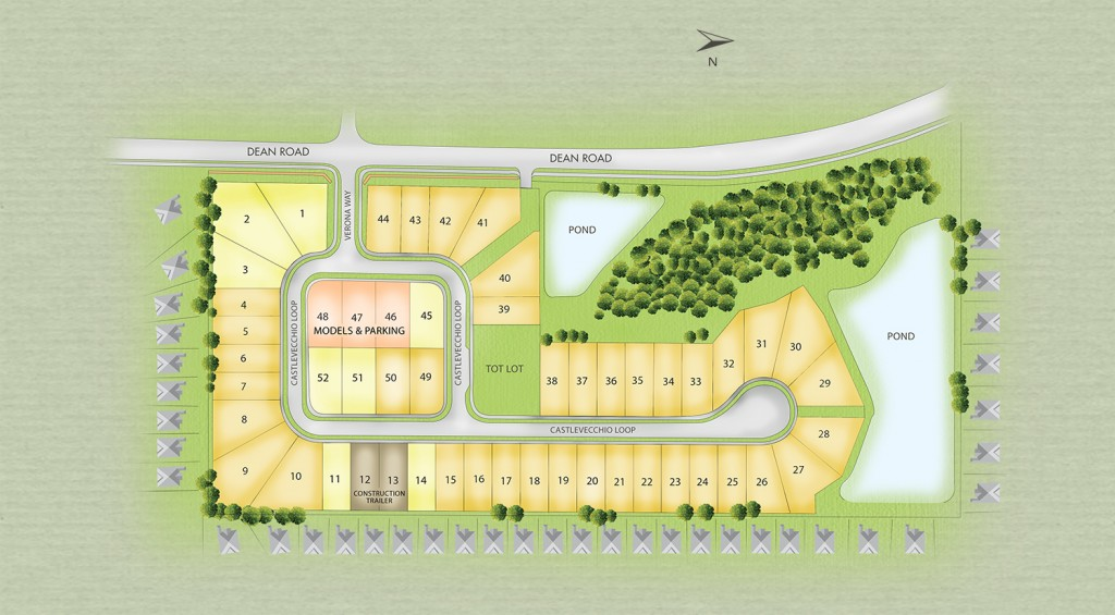 Site plan of Verona community. New homes for sale in Orlando