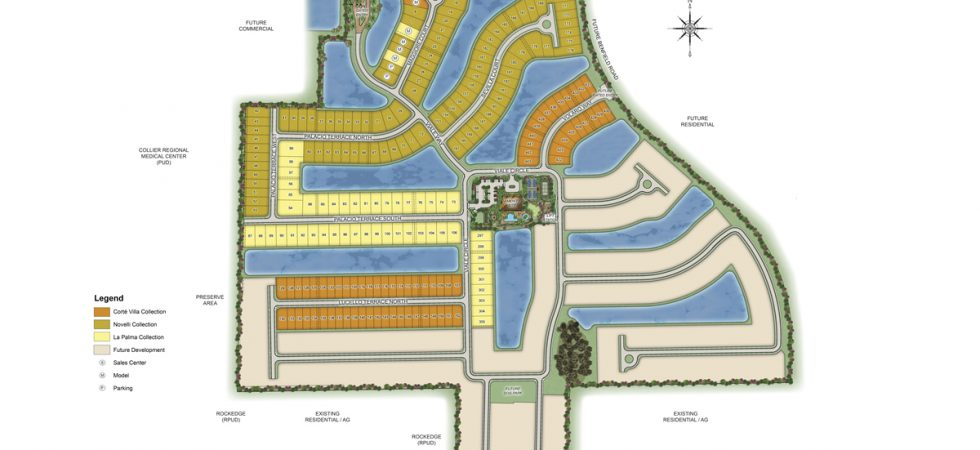 SIte plan for Esplanade a Hacienda Lakes in Naples