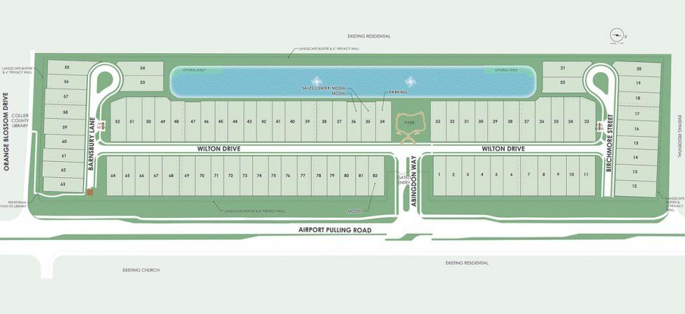 Plano de ubicación de la plaza de Avery en Nápoles