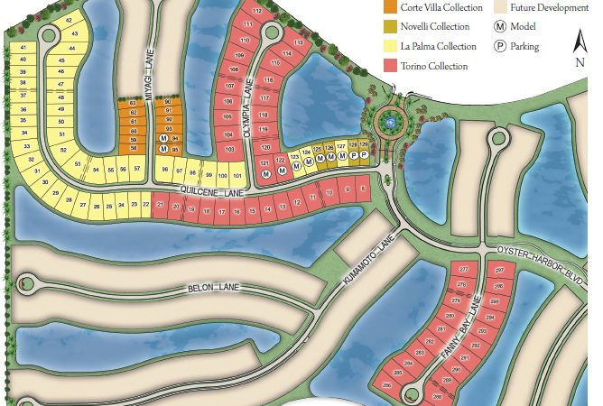Site plan of Oyster Harbor at Fiddlers Creek in Naples